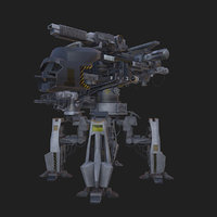 Realistic Low poly 3D model AR VR Alien Mech Combat Creature