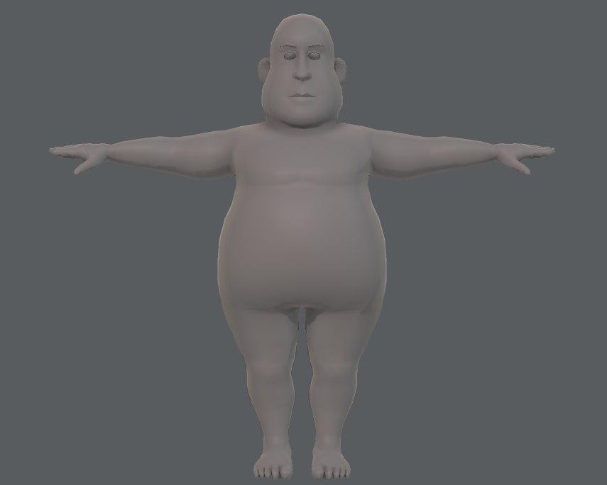 3D base mesh man character model