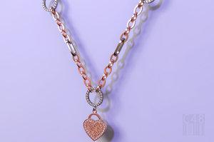 jewelry heart pendant chain 3D model