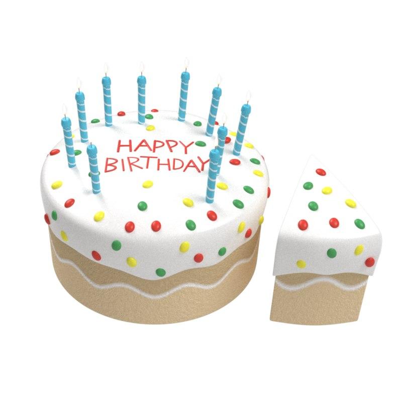 3d Cartoony Birthday Cake Slice Turbosquid 1317365