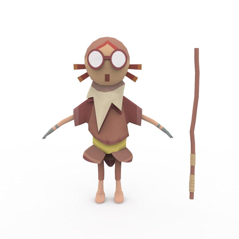 3D fantasy mystical character vr model