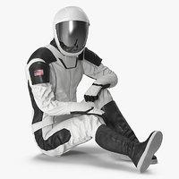 futuristic space suit rigged model