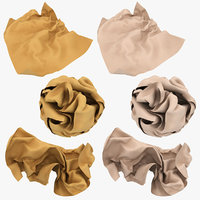 crumpled paper brown beige 3D model