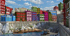 3D model town fantasy color