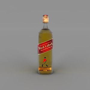 3D red label bottle model