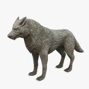 3D wolf statue model