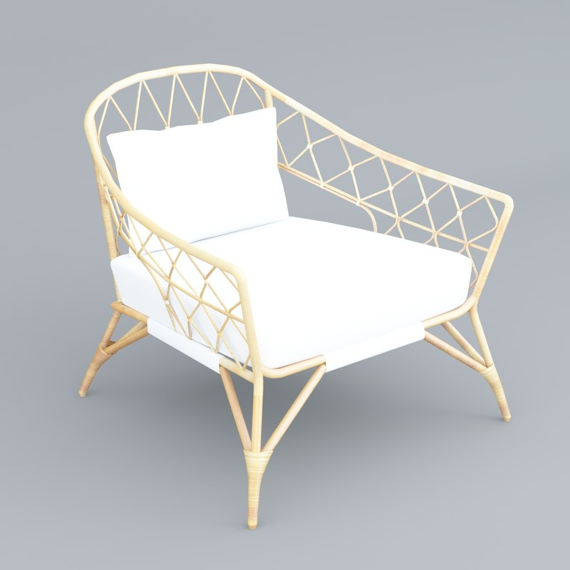 3D model stockholm ikea rattan chair