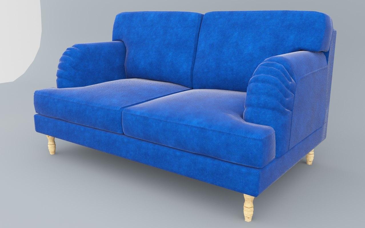 socksund sofa ikea low-poly 3D