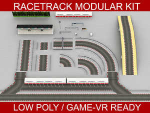 3D model race track modular construction kit