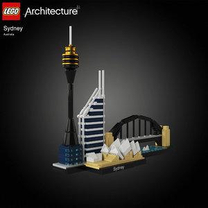 3D model architectural sydney opera lego