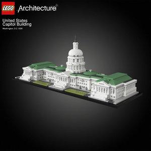3D architectural capitol building lego