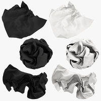 3D crumpled paper white black model