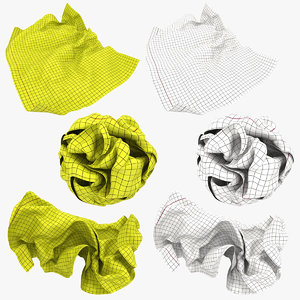 crumpled graph paper white 3D