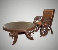 3D antique furniture semarang table chair