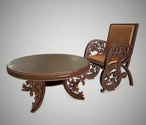 3D antique furniture semarang table chair