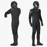 3D sci-fi space suit black