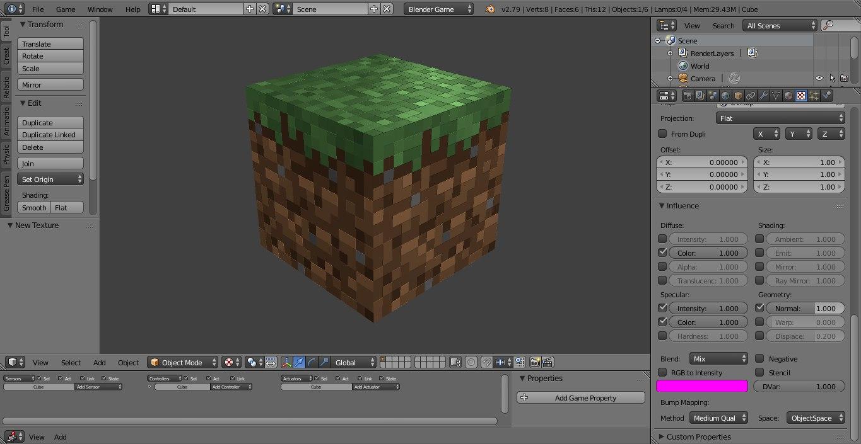 bloco terra realista minecraft 3D model