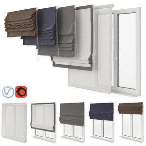 set roman curtains 3D