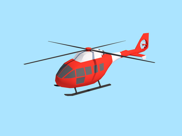 3D model cartoon helicopter