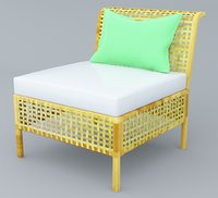 3D rattan chair 2 low-poly model