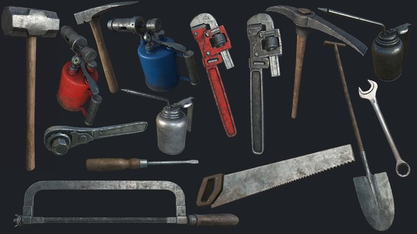 3D old work tools pbr model
