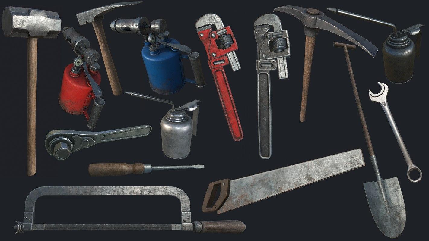 3D old work tools pbr model