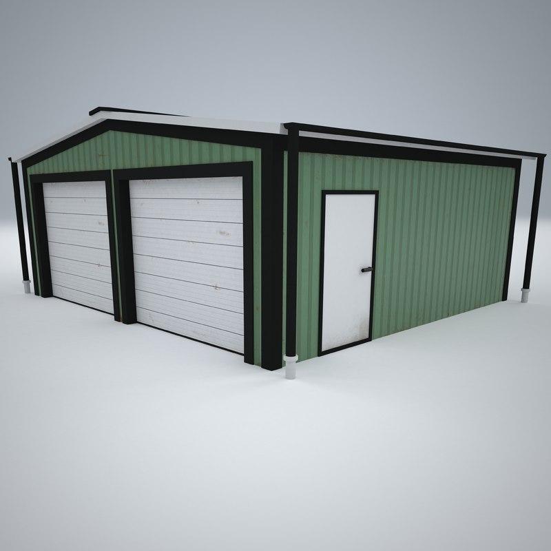 3D model metal garage