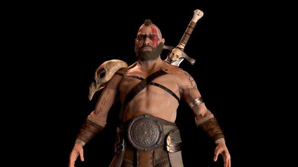 3D barbarian pbr ue4