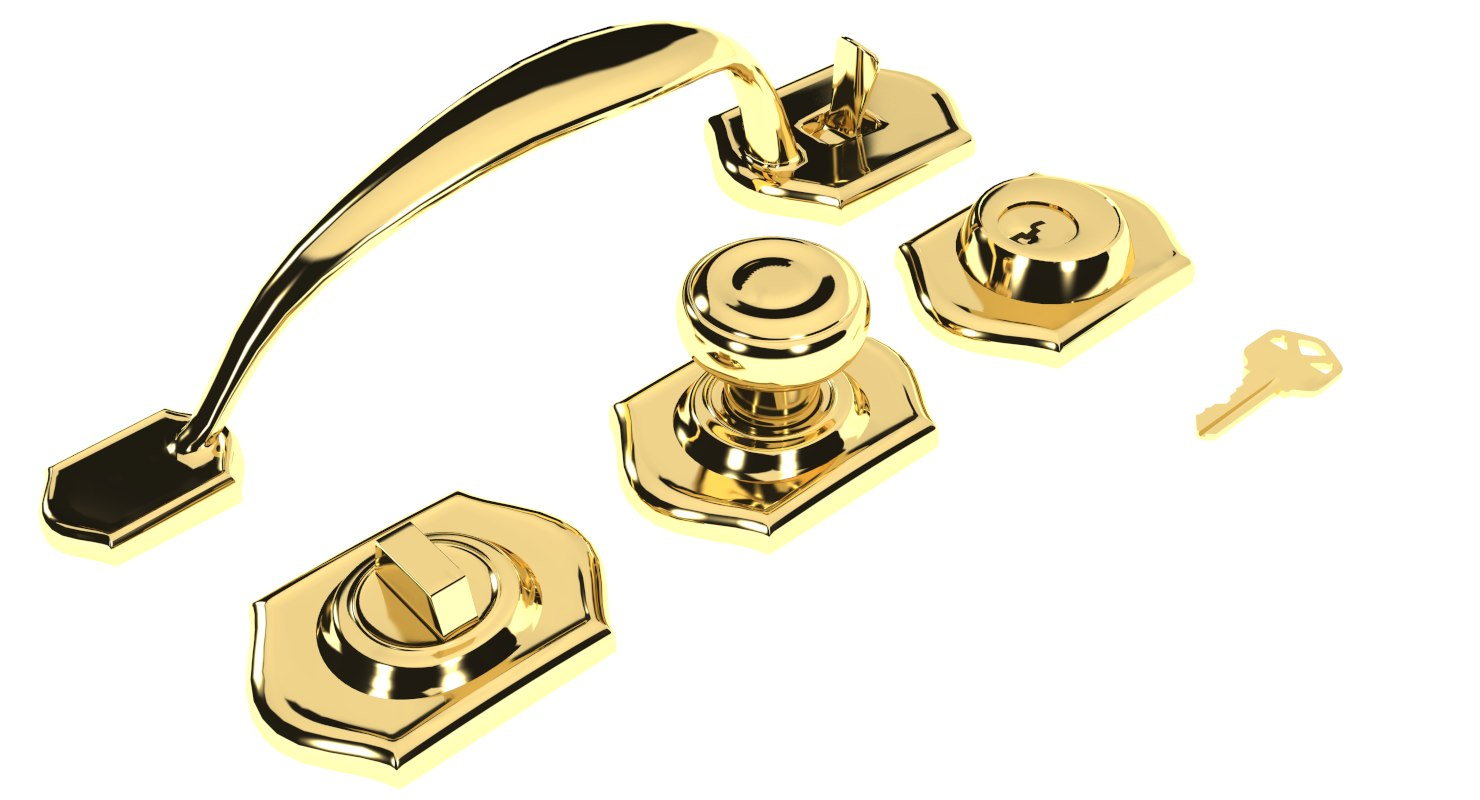 set lock handle key 3D model