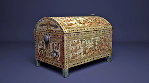 3D egyptian king tutankhamun chest