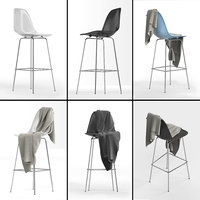 Molded Plastic Barstool DSHBX: Charles & Ray Eames with blanket cloth for interior visualization