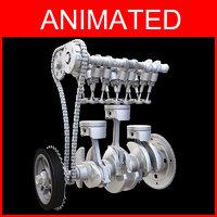 3D model cylinder engine