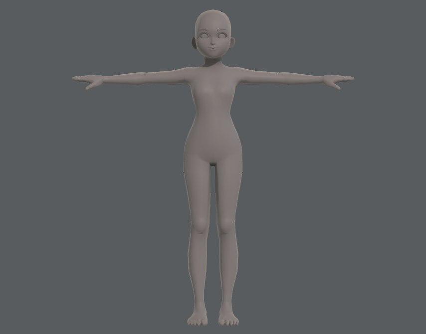 base mesh girl characterv04 3D model