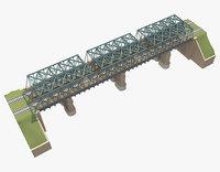 bridge rail railway 3D model