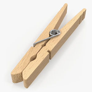 3D model wooden clothespin