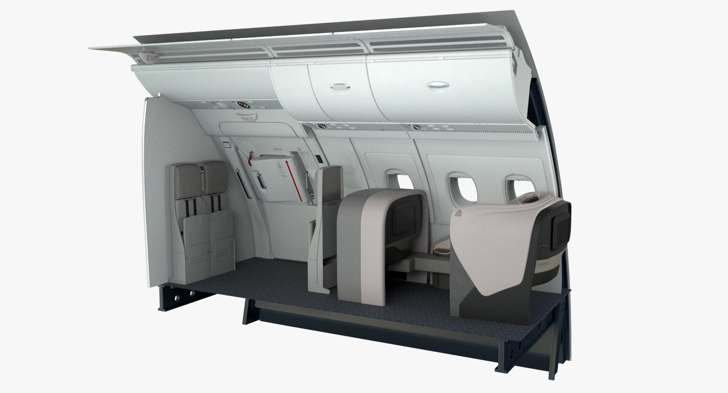 business seat emergency exit 3D