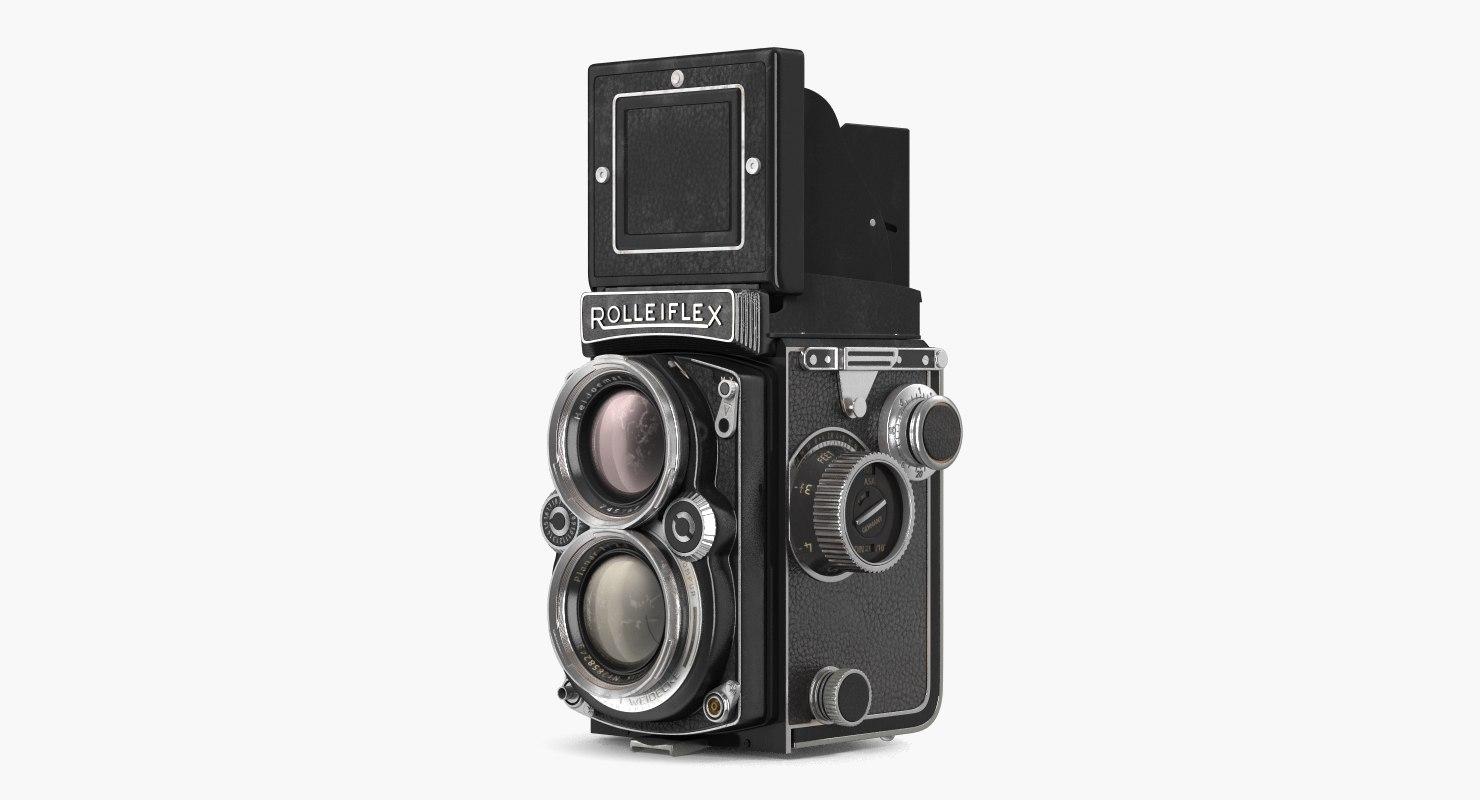 vintage tlr rolleiflex film camera 3D model