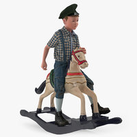 Vintage Boy Riding Rocking Horse 3D Model