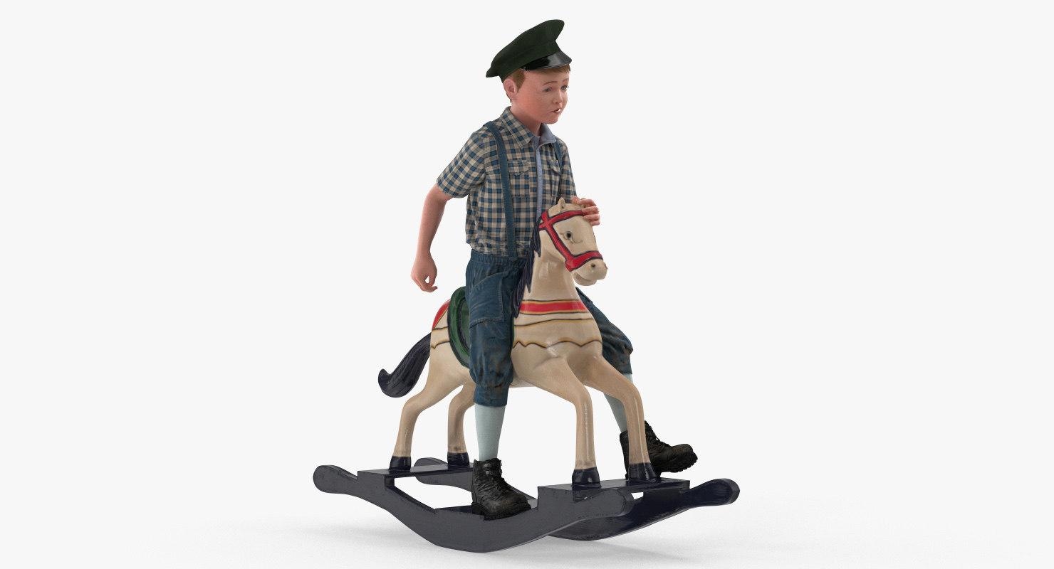 vintage boy riding rocking horse model