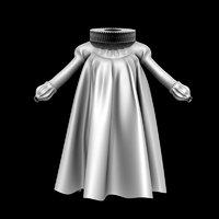 3D queen costume dress model