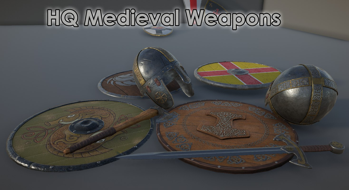 medieval shields 3D model