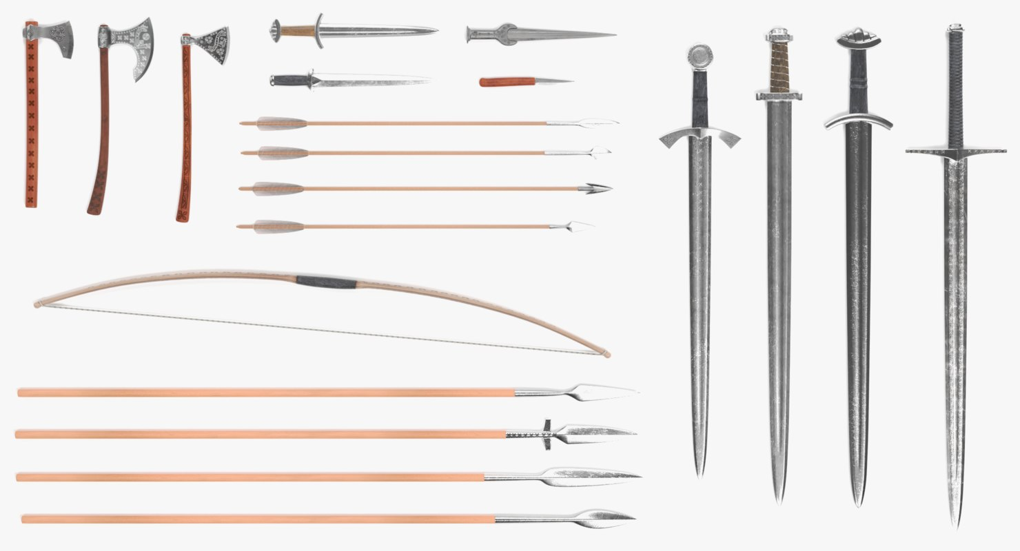 3D model viking weapons