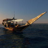 Qatar Boat traditional Dhow And open Ocean fast Render