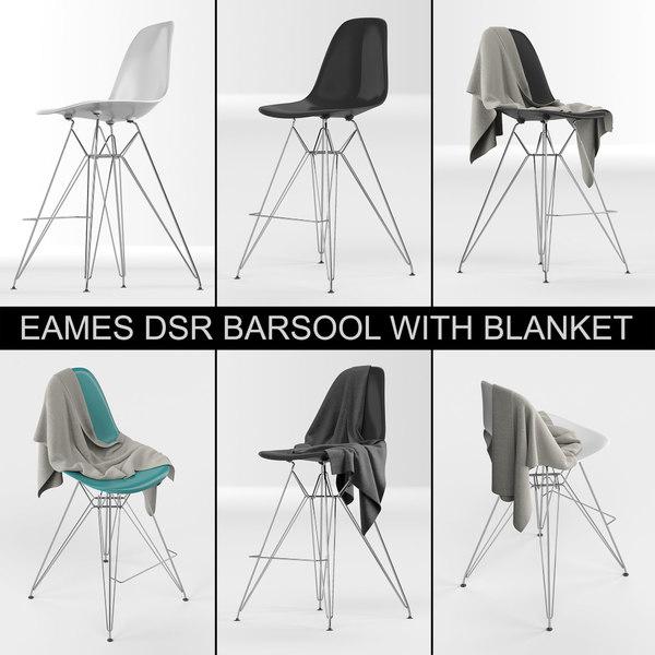 plastic eames dsr barstool 3D model
