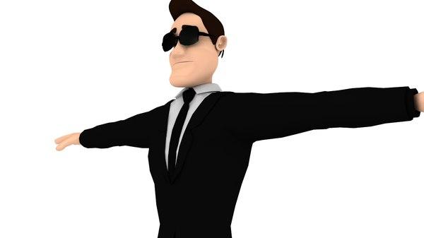cartoon spy detective 3D model