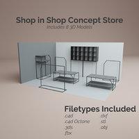 3D shop store racks