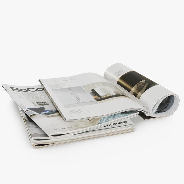 realistic photorealistic magazines open 3D