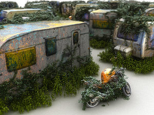 3D model apocalyptic camper wreck pack