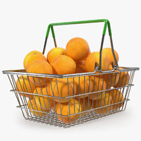 Shopping Basket Filled with Grapefruits 3D Model