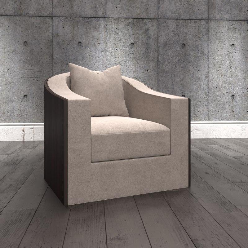 modern armchair fabric sofa 3D